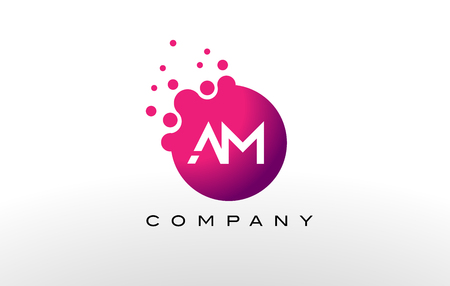 AM Letter Dots Logo Design with Creative Trendy Bubbles and Purple Magenta Colors.