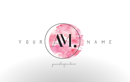 AM Watercolor Letter Logo Design with Circular Pink Brush Stroke.