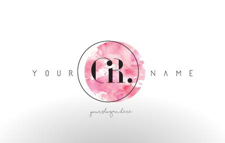 GR Watercolor Letter Logo Design with Circular Pink Brush Stroke.