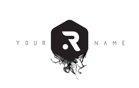 R Black Ink Letter Logo Design with Rounded Hexagon Vector.