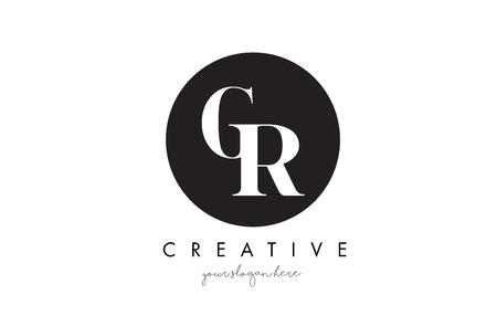 GR Letter Logo Design with Black Circle and Serif Font Vector Illustration.