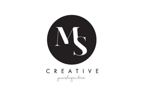 MS Letter Logo Design with Black Circle and Serif Font Vector Illustration.