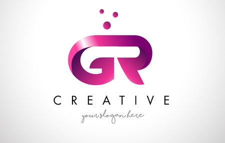 GR Letter Logo Design Template with Purple Colors and Dots