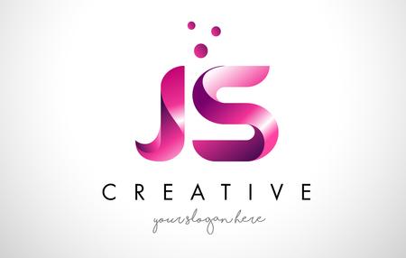 Ilustración de JS Letter Logo Design Template with Purple Colors and Dots - Imagen libre de derechos
