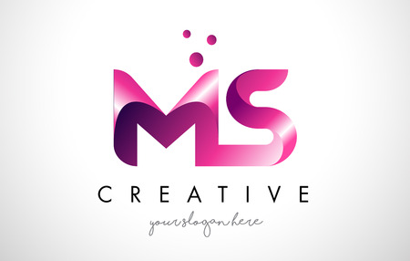 MS Letter Logo Design Template with Purple Colors and Dots