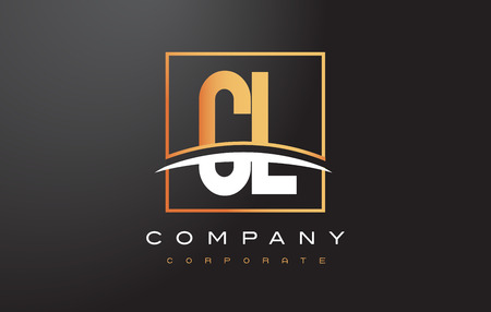 CL C L Golden Letter Logo Design with Swoosh and Rectangle Square Box Vector Design.