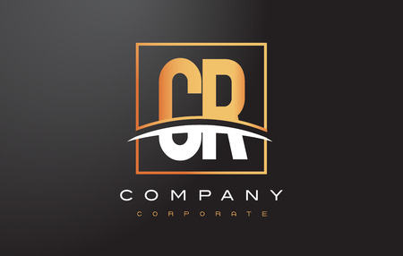 CR C R Golden Letter Logo Design with Swoosh and Rectangle Square Box Vector Design.