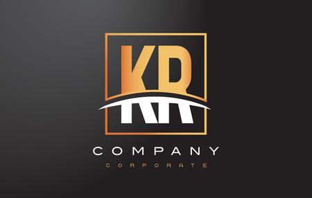 KR K R Golden Letter Logo Design with Swoosh and Rectangle Square Box Vector Design.