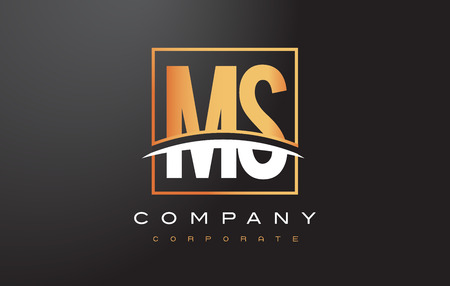 MS M S Golden Letter Logo Design with Swoosh and Rectangle Square Box Vector Design.