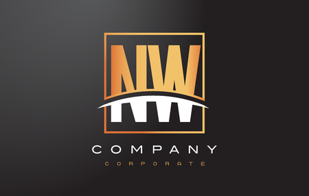 NW N W Golden Letter Logo Design with Swoosh and Rectangle Square Box Vector Design.