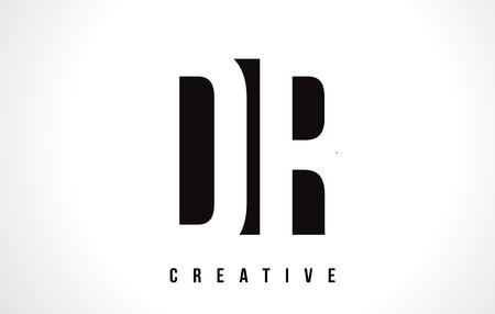 DR D R White Letter Logo Design with Black Square Vector Illustration Template.