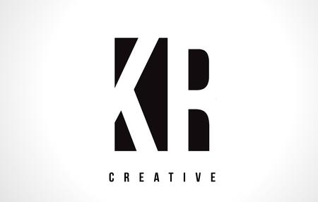 KR K R White Letter Logo Design with Black Square Vector Illustration Template.