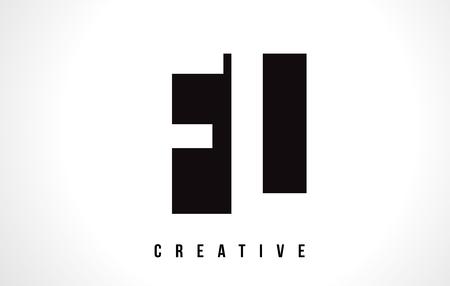 FL F L White Letter Logo Design with Black Square Vector Illustration Template.