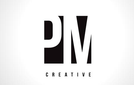 PM P L White Letter Logo Design with Black Square Vector Illustration Template.