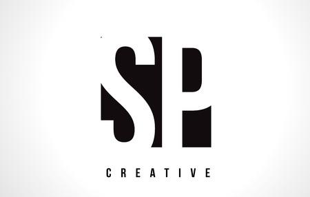 SP S P White Letter Logo Design with Black Square Vector Illustration Template.