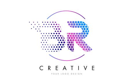 BR B R Pink Magenta Dotted Bubble Letter Logo Design. Dots Lettering Vector Illustration