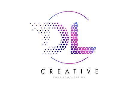 Dl D L Pink Magenta Dotted Bubble Letter Logo Design Dots Lettering Vector Illustration Royalty Free Vector Graphics