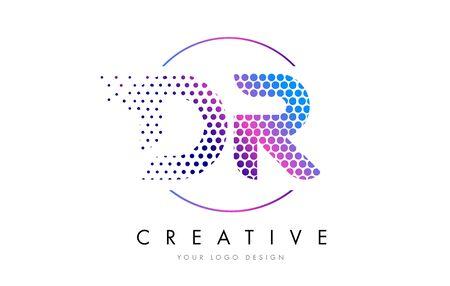 DR D R Pink Magenta Dotted Bubble Letter Logo Design. Dots Lettering Vector Illustration