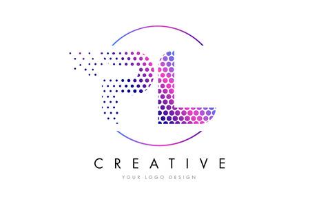 PL P L Pink Magenta Dotted Bubble Letter Logo Design. Dots Lettering Vector Illustration