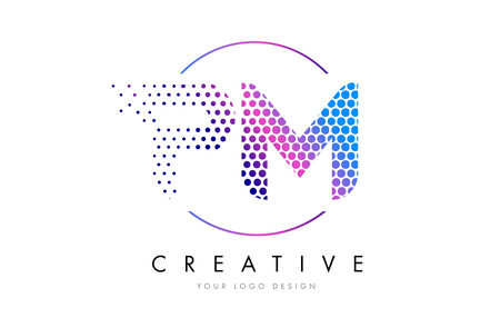 PM P L Pink Magenta Dotted Bubble Letter Logo Design. Dots Lettering Vector Illustration