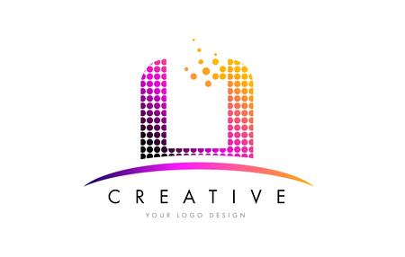 LI L I Dots Letter Logo Design with Magenta Bubble Circles and Swoosh