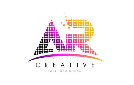 AR A R Dots Letter Logo Design with Magenta Bubble Circles and Swoosh