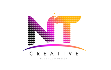 NT N T Dots Letter Logo Design with Magenta Bubble Circles and Swoosh