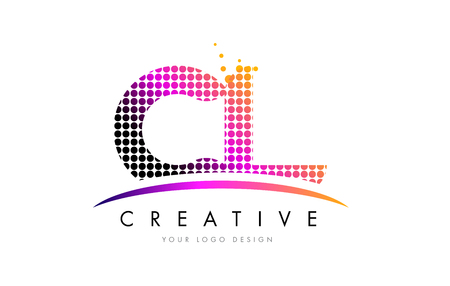 CL C L Dots Letter Logo Design with Magenta Bubble Circles and Swoosh