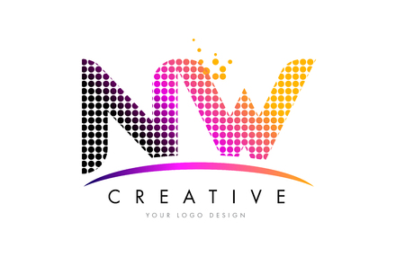NW N W Dots Letter Logo Design with Magenta Bubble Circles and Swoosh