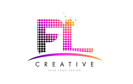 FL F L Dots Letter Logo Design with Magenta Bubble Circles and Swoosh