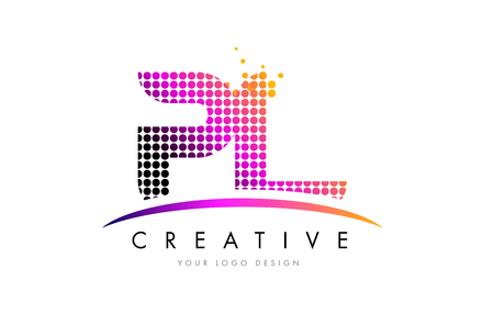 PL P L Dots Letter Logo Design with Magenta Bubble Circles and Swoosh