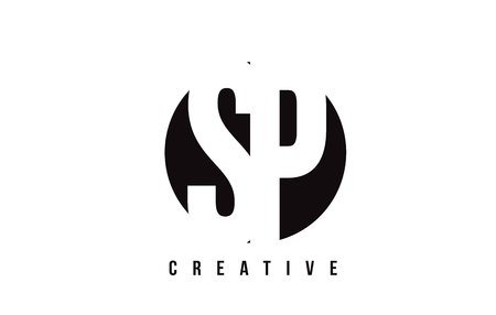 SP S P White Letter Logo Design with Circle Background Vector Illustration Template.