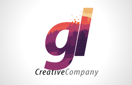 GL G L Letter Logo Design with Purple Orange Forest Texture Flat Vector Illustration.