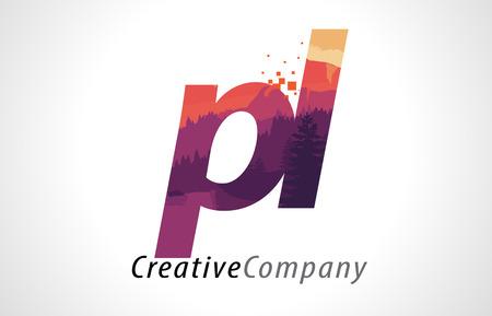 PL P L Letter Logo Design with Purple Orange Forest Texture Flat Vector Illustration.