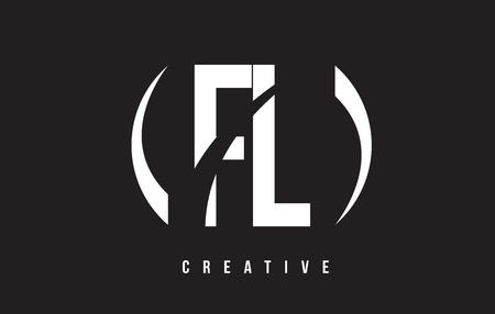FL F L White Letter Logo Design with White Background Vector Illustration Template.