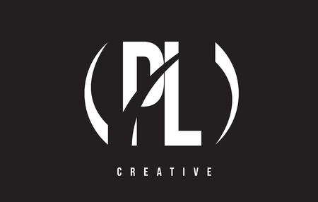 PL P L White Letter Logo Design with White Background Vector Illustration Template.