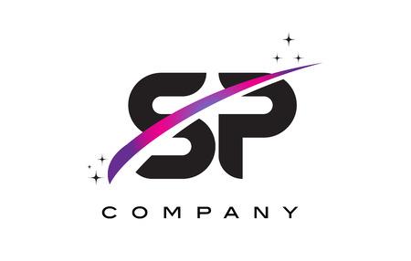 SP S P Black Letter Logo Design with Purple Magenta Swoosh and Stars.