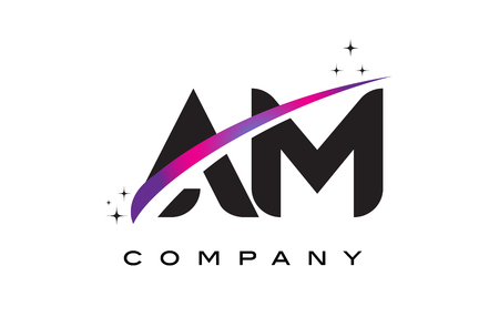 AM A M Black Letter Logo Design with Purple Magenta Swoosh and Stars.