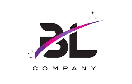 BL B L Black Letter Logo Design with Purple Magenta Swoosh and Stars.