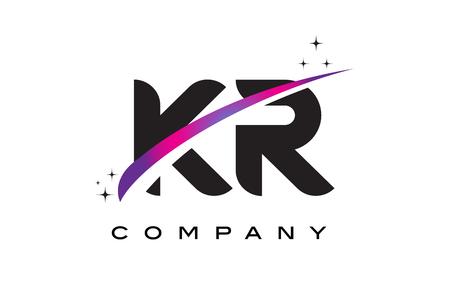 KR K R Black Letter Logo Design with Purple Magenta Swoosh and Stars.