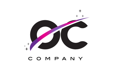 OC O C Black Letter Logo Design with Purple Magenta Swoosh and Stars.