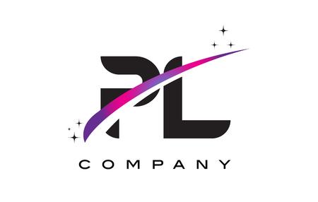 PL P L Black Letter Logo Design with Purple Magenta Swoosh and Stars.
