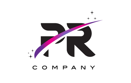PR P R Black Letter Logo Design with Purple Magenta Swoosh and Stars.
