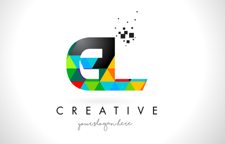 GL G L Letter Logo with Colorful Vivid Triangles Texture Design Vector Illustration.