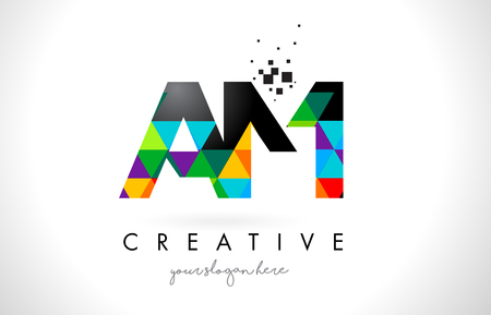 AM A M Letter Logo with Colorful Vivid Triangles Texture Design Vector Illustration.