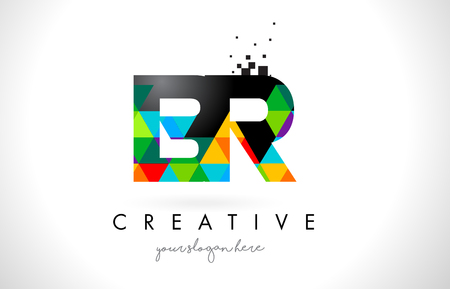 BR B R Letter Logo with Colorful Vivid Triangles Texture Design Vector Illustration.