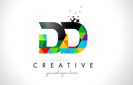 DD D D Letter Logo with Colorful Vivid Triangles Texture Design Vector Illustration.