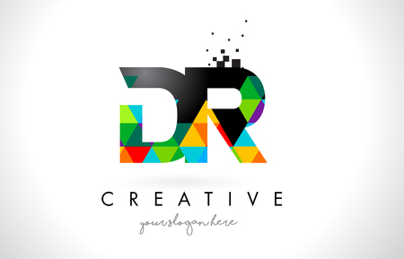 DR D R Letter Logo with Colorful Vivid Triangles Texture Design Vector Illustration.