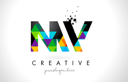 NW N W Letter Logo with Colorful Vivid Triangles Texture Design Vector Illustration.