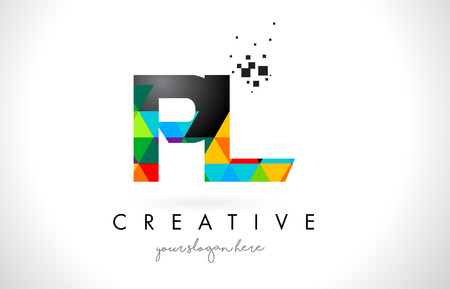 PL P L Letter Logo with Colorful Vivid Triangles Texture Design Vector Illustration.